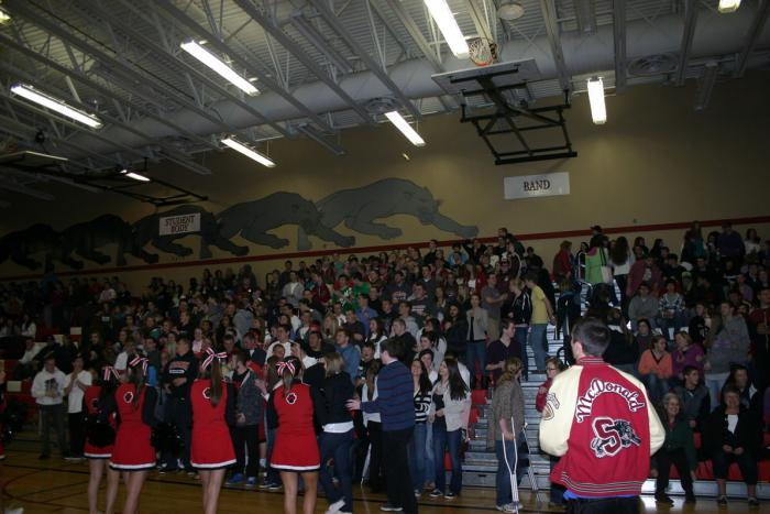 Students get pumped at the Spring Recognition assembly