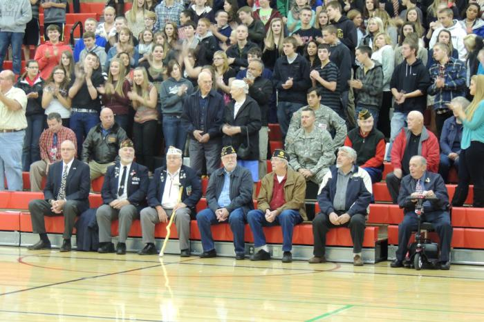 Veterans during the assembly