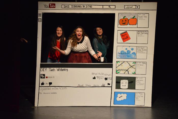 "SNL: Senior Kailey Counsell, Junior Anastasia Bidne, and Freshman Lyric Crane perform in ""DIY Tooth Whitener"""