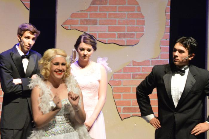 (From L to R) Stevie Jorgenson, Sarah Sapadin, Kelsie Watkins and Braden Sigua in Singin' in the Rain.