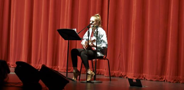 "Freshman Camlin Vespaziani sings and plays the ukulele to Adele's version of ""Make You Feel My Love"", originally written by Bob Dylan."