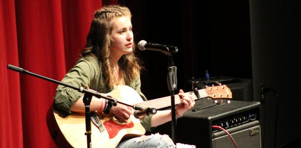 "Freshman Arleigh Bjorling sings original song ""You"" for annual Variety Show"